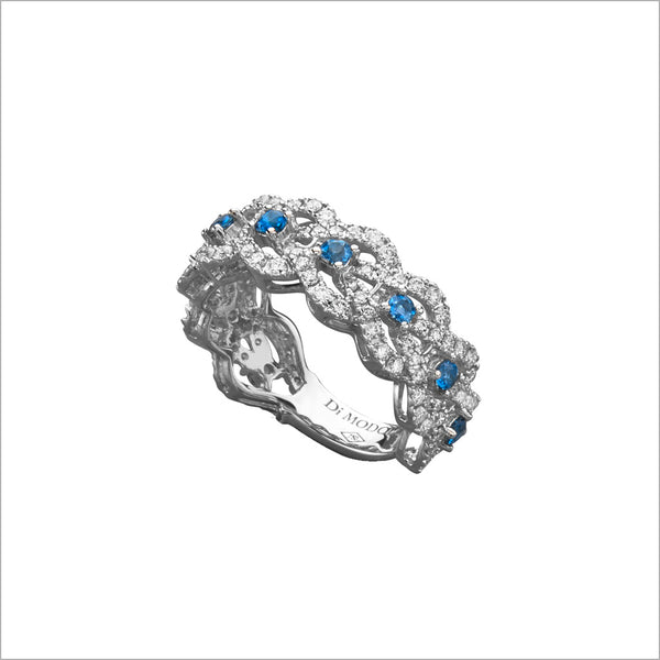 Fiamma 18k White Gold & London Blue Topaz Ring with Diamonds