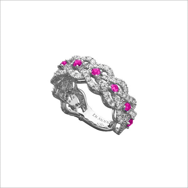 Fiamma 18k White Gold & Pink Sapphire Ring with Diamonds