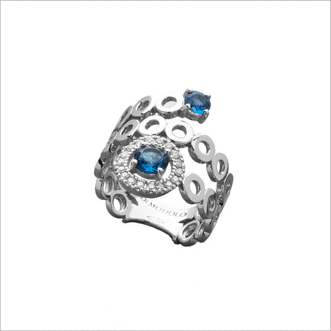 Eterno 18K White Gold & London Blue Topaz Ring with Diamonds