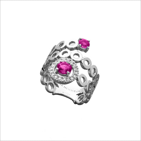 18K Gold & Pink Sapphire Ring with Diamonds