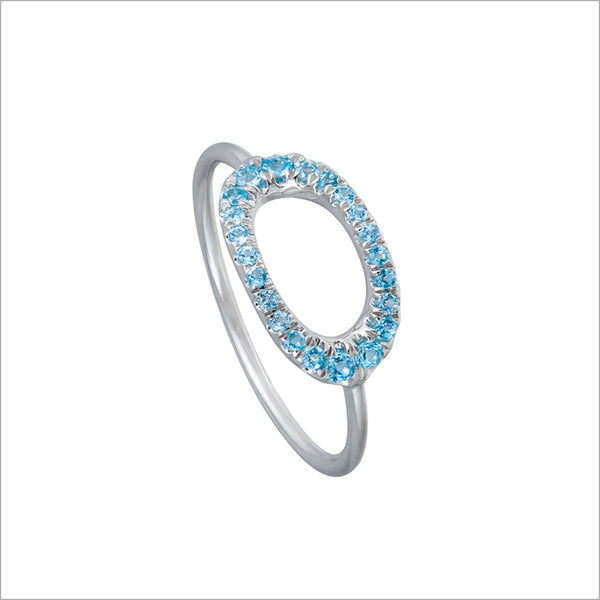 Allegra 18K White Gold & Blue Topaz Stackable Ring