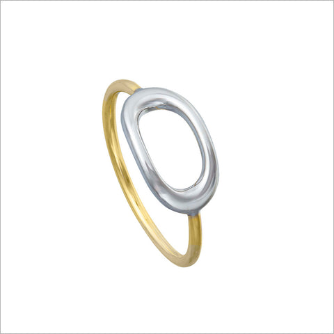 Allegra 18K Yellow and White Gold Stackable Ring