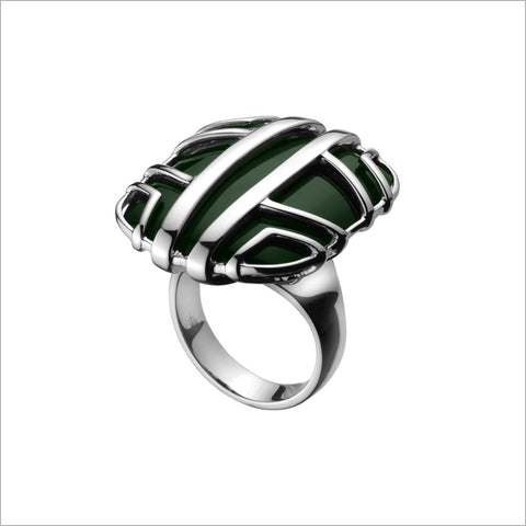 Favola 18K White Gold Ring with Green Jade