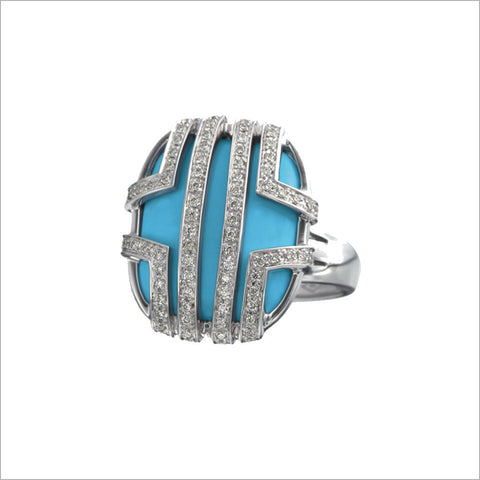 Favola 18K White Gold Ring with Turquoise and Diamonds