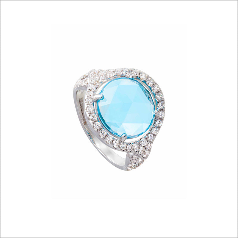 Giulietta 18K White Gold & Swiss Blue Topaz Ring with Diamonds