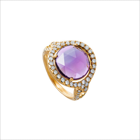 Giulietta 18K Yellow Gold & Amethyst Ring with Diamonds