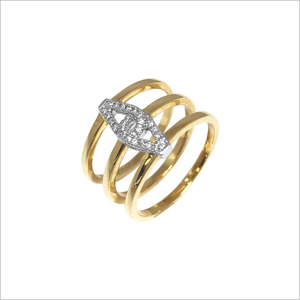 Fiamma 18k Gold Triple Shank Ring with Diamonds