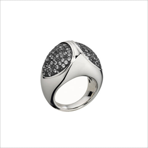 Triadra 18K White Gold Ring with Black Diamonds
