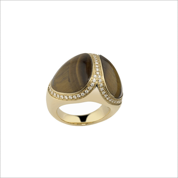 Triadra 18K Yellow Gold & Tigers Eye Ring with Diamonds