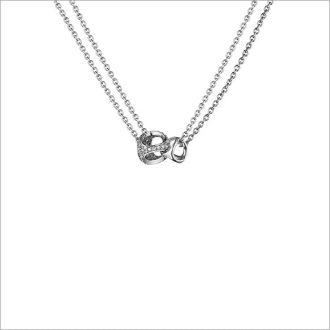 Linked By Love Sterling Silver Diamond Small Necklace
