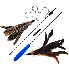 2 Guinea Feather Cat Wand