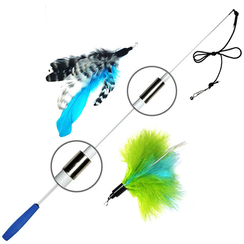 2 Feather Retractable Cat Wand