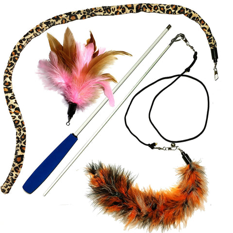 3 Feather Dual Rod Cat Wand