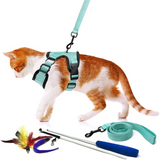 Adjustable Harness and Leash Set with Bonus Cat Feather Toy