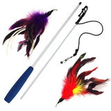 2 Feather Cat Wand - Red and Purple