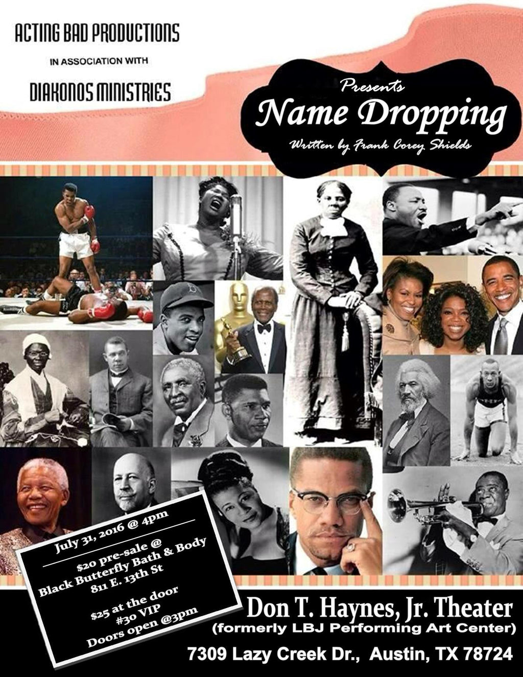Tickets Available @Black Butterfly For Upcoming Play titled NAME DROPPING!