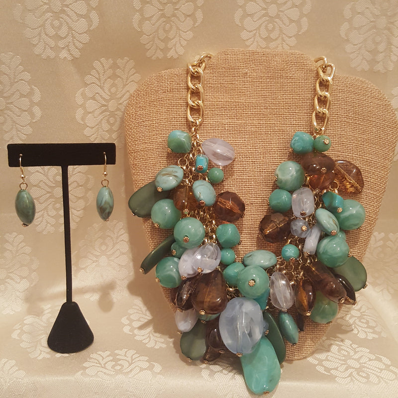 Teal & Brown 2pc Cluster Jewelry Set-Jewelry Set-Black Butterfly Bath & Body