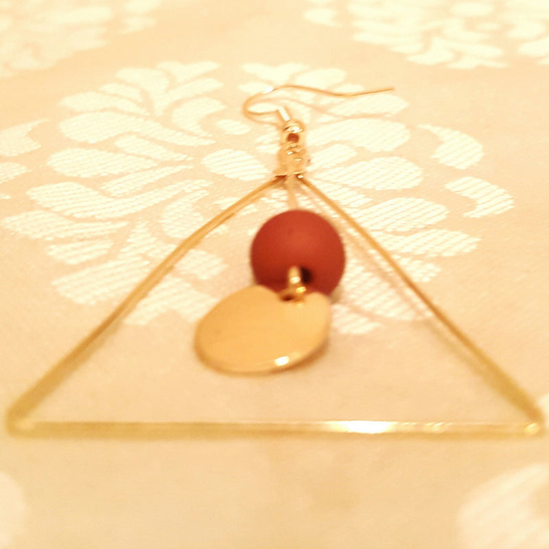 Gold Metal Triangle Earrings-Earrings-Black Butterfly Bath & Body