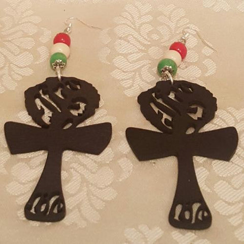 """Afro Life"" Wood Earrings-Earrings-Black Butterfly Bath & Body"