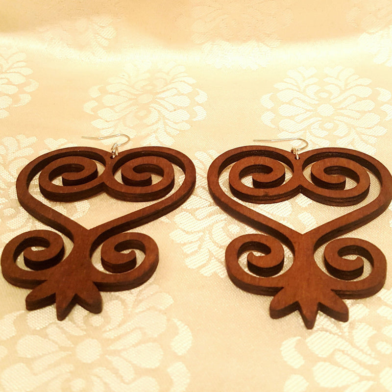 """Sankofa"" African Symbol Wood Earrings-Earrings-Black Butterfly Bath & Body"
