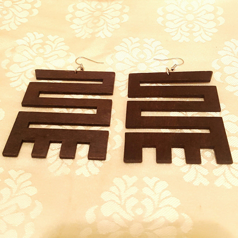 """NKYINKYIM"" African Symbol Wood Earrings-Earrings-Black Butterfly Bath & Body"