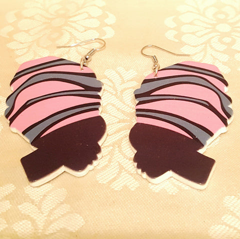 Woman with Headwrap Painted on Wood Earrings-Earrings-Black Butterfly Bath & Body