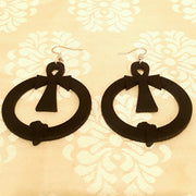 Wood Hoop Earrings w/Engraved Ankh & Africa-Earrings-Black Butterfly Bath & Body