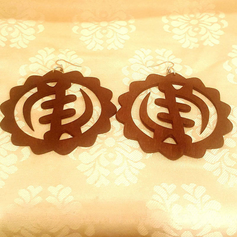 """NYAME"" Wood Earrings-Earrings-Black Butterfly Bath & Body"