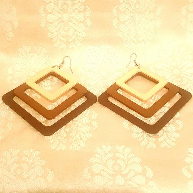 Tri Cutout Square Wood Earrings-Earrings-Black Butterfly Bath & Body