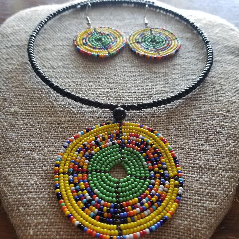 Yellow Beaded Maasai Set