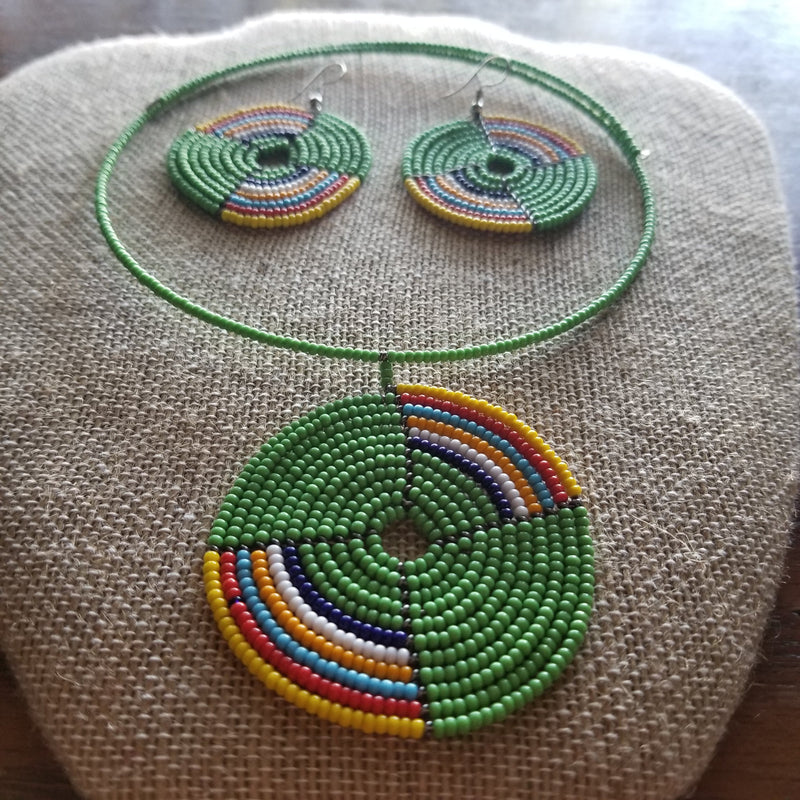 Green Maasai inspired Choker with matching Earrings