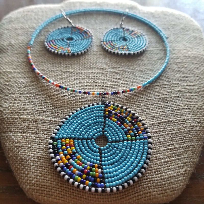 Blue Beaded Choker set