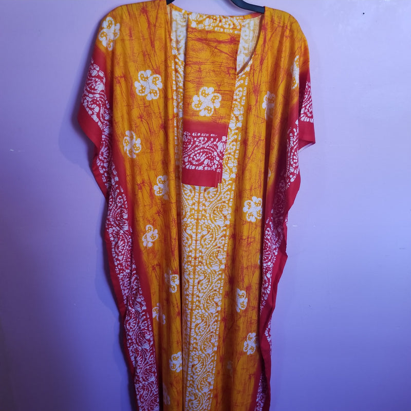 Orange Kaftan with Elephant print