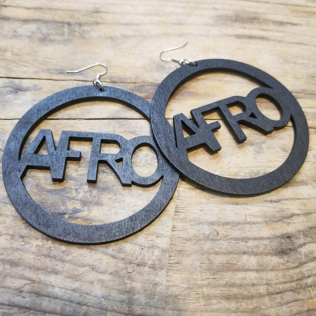 """Afro"" Wooden Hoop Earrings"