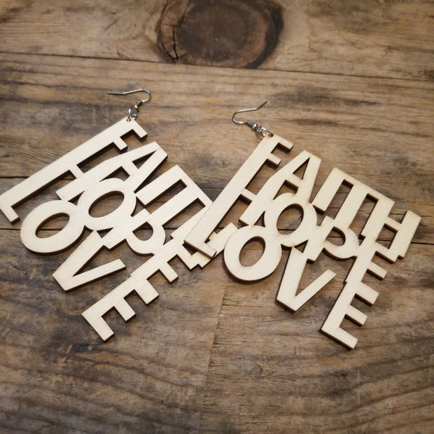 """Faith, Hope, Love"" Wooden Earrings"