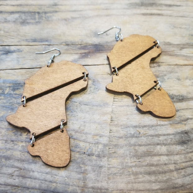 "3"" Linked Wood Africa-Shaped Earrings"