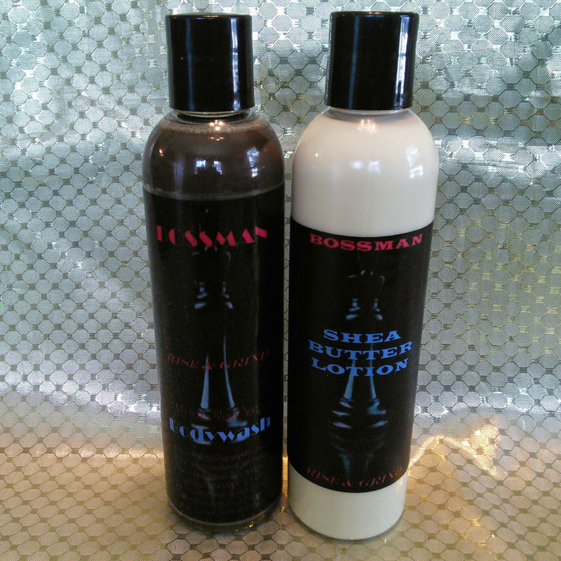 Rise & Grind Shea Lotion/Black Soap Bodywash for Men-Black Butterfly Bath & Body