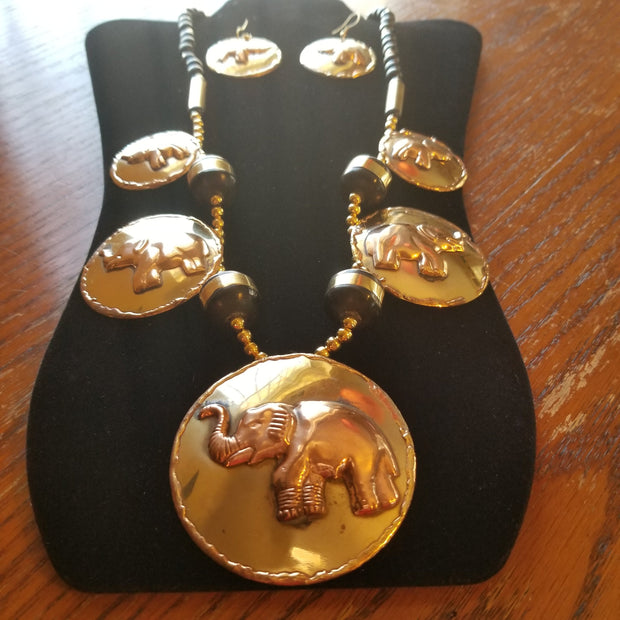Brass Elephant 2pc Jewelry Set