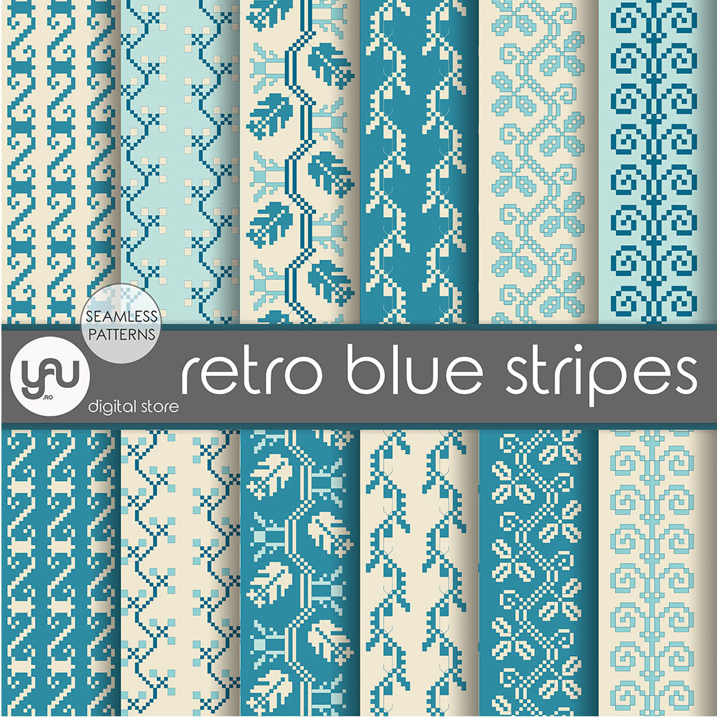 Digital paper | Imagini digitale - RETRO BLUE STRIPES - DP22