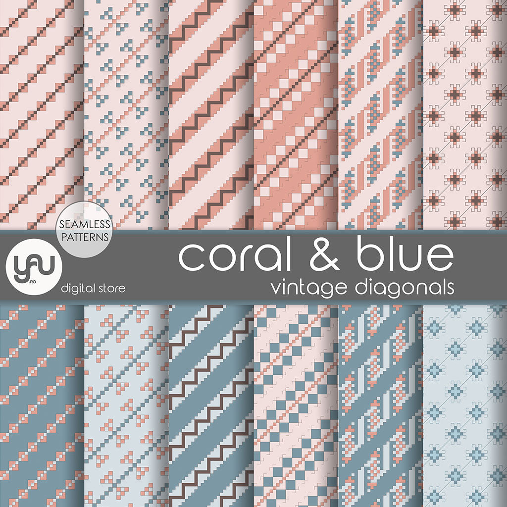Digital paper | Imagini digitale - CORAL and BLUE DIAGONALS - DP19