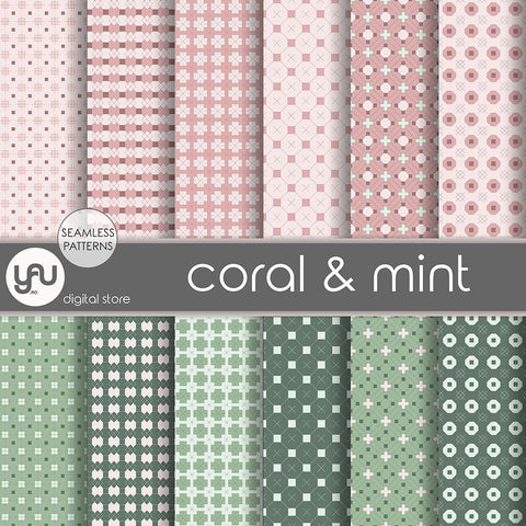Digital paper | Imagini digitale - CORAL and MINT - DP15