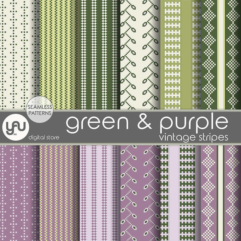 Digital paper | Imagini digitale - GREEN and PURPLE STRIPES - DP20