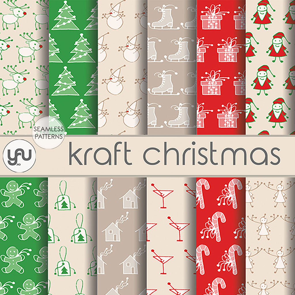 Digital paper | Imagini digitale - KRAFT CHRISTMAS - DP27