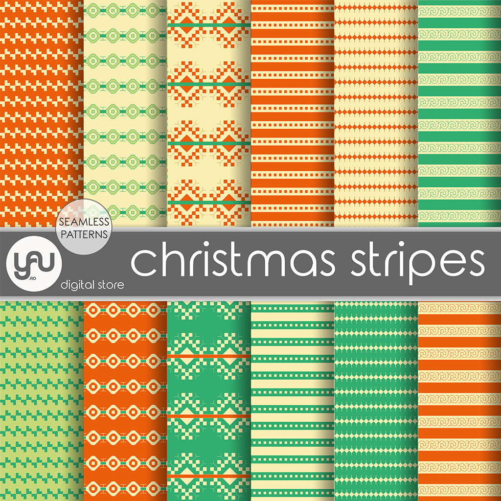 Digital paper | Imagini digitale - ORANGE and GREEN STRIPES - DP23