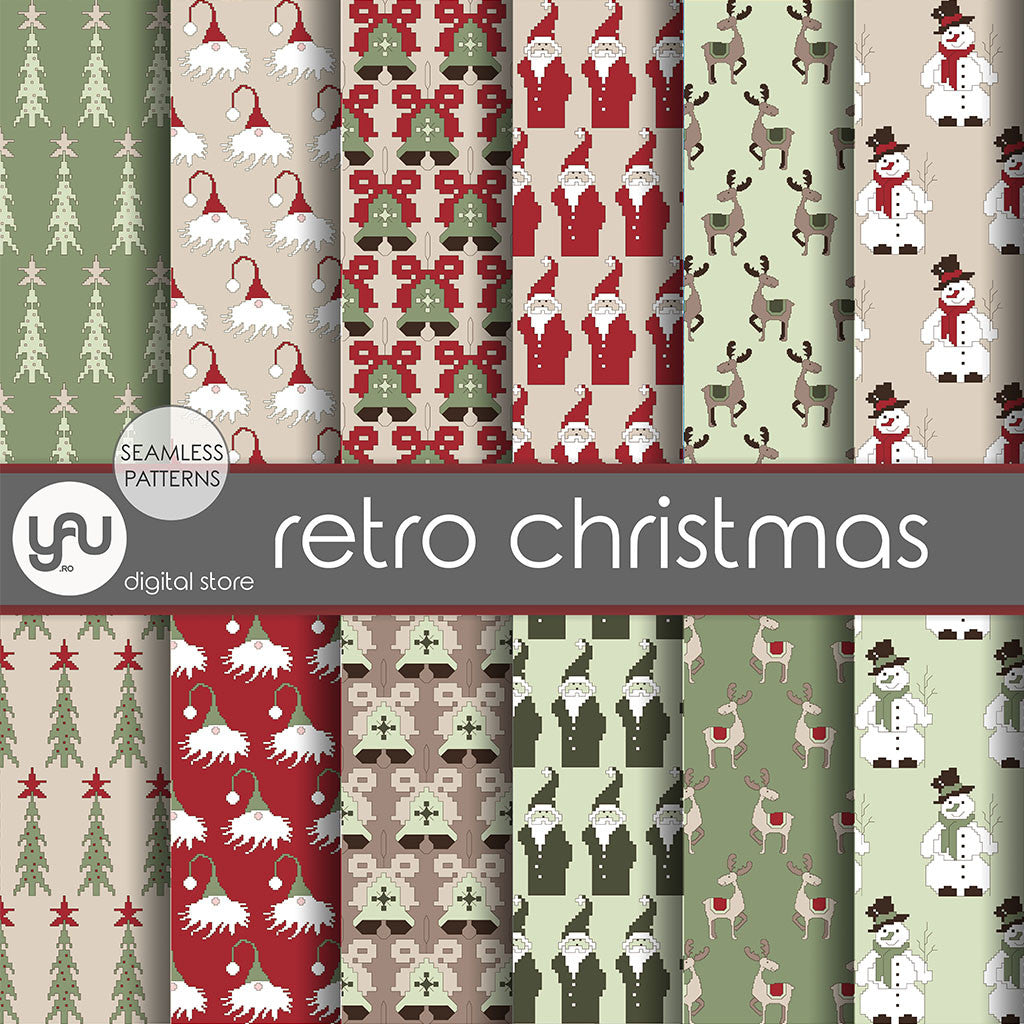 Digital paper | Imagini digitale - RETRO CHRISTMAS - DP24
