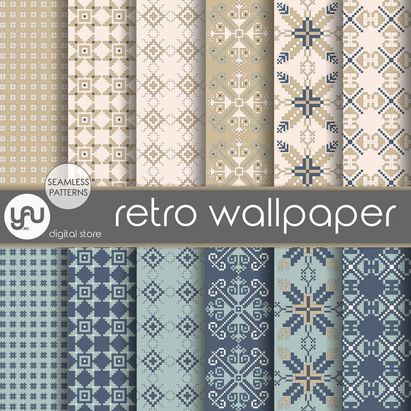 Digital paper | Imagini digitale - RETRO WALLPAPER - DP12