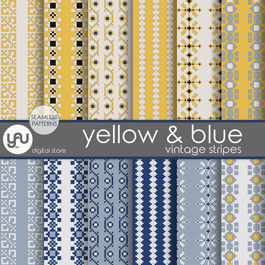 Digital paper | Imagini digitale - YELLOW and BLUE STRIPES - DP21