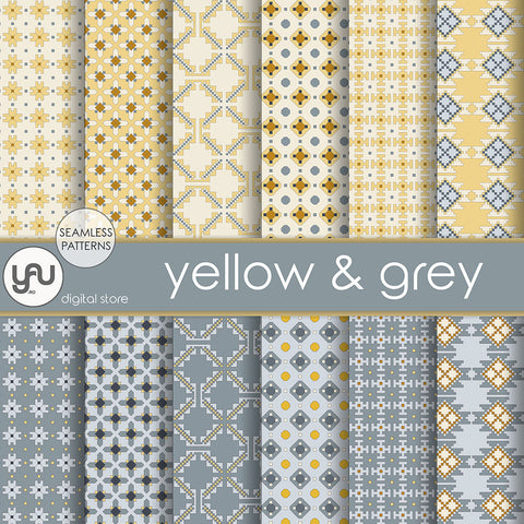 Digital paper | Imagini digitale - YELLOW and GREY - DP11