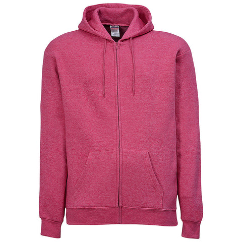 Mens Zip Hoodie. Heather Fuchsia. Pink