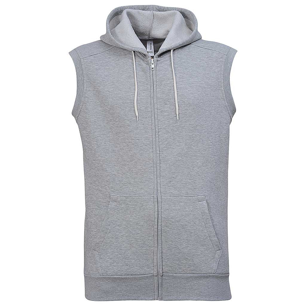 Mens Sleeveless Hoodie. Gray. Vest